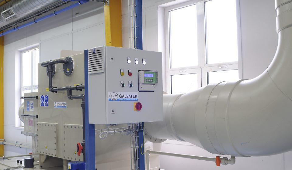 Ventilation system of an automated surface treatment plant.