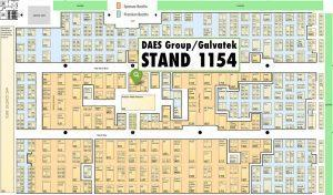 MRO Americas 2018 floor plan and DAES Group/Galvatek location. Stand 1154 is located in the middle of the exhibition floor